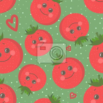 Tapeta Śliczny bezszwowy wzór z szczęśliwym uśmiechniętym pomidorem. Wektorowa nowożytna mieszkanie stylu postać z kreskówki ilustracja. Jedzenie zdrowej żywności, wegańskie jedzenie, koncepcja warzywo.