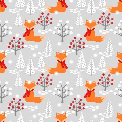 Tapeta Śliczny lis w Bożenarodzeniowej zimy bezszwowym wzorze.
