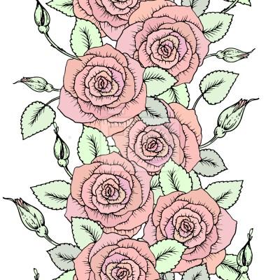Tapeta Słodkie Bordury Róż