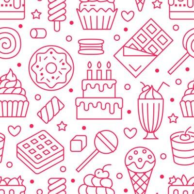 Tapeta Słodkie jedzenie wzór z ikonami płaskiej linii. Ilustracje wektorowe ciasta - lizak, tabliczka czekolady, koktajl mleczny, ciasteczko, tort urodzinowy, sklep ze słodyczami. Słodkie różowe białe tło dl