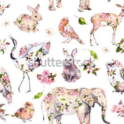 Tapeta Słodkie zwierzęta w różowe wiosenne kwiaty. Kwiatowy wzór. Kobieca, dziewczęca akwarela
