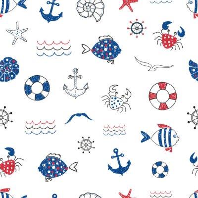 Tapeta Słodkie Życie morskie doodle szwu. Wektor tle morza ryby, kraby, starfifh, kotwica, mewa. Nadaje się do tapet, papier pakowy, tła strony internetowej, karty letnie projektu.