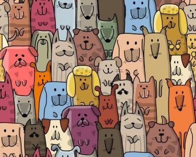 Tapeta Śmieszne psy rodziny, bezszwowe wzór do projektowania