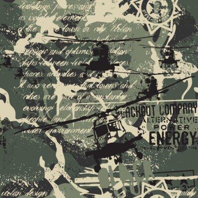 Tapeta Śmigłowcowa eskadra miejskiej ulicy stylu tkaniny wektorowego grunge abstrakcjonistycznego kamuflażu bezszwowy wzór