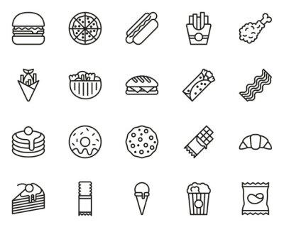 Tapeta Snack Or Junk Food Icons Thin Line Set Big