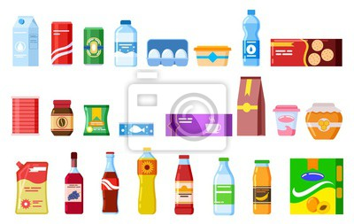 Tapeta Snack products. Biscuit water juice biscuits cola ketchup yogurt coffee soup. Packed cooking product flat vector isolated icons set. Illustration of package and bottle, product sweets and snack