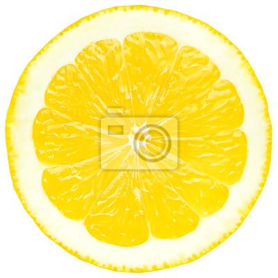 Tapeta Soczysty żółty plasterek cytryny, białym tle, izolowane