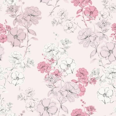 Tapeta Soft pink delicate blooming hand drawn pencil line skecth seamless pattern vector design for fashion,fabric,web,card,wallpaper and all prints
