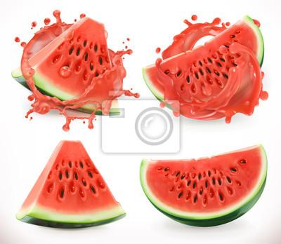 Tapeta Sok z arbuza. Świeże owoce, ikona 3d wektorowe
