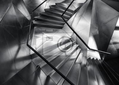 Tapeta Spiral staircase Metal steel Modern Building Architecture detail