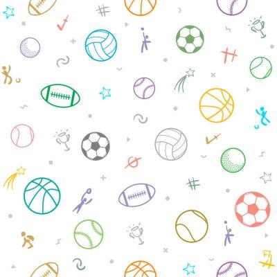 Tapeta Sport motyw bezszwowe tło wzór; piłka nożna; baseball; Siatkówka; Koszykówka