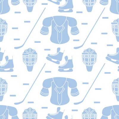 Tapeta Sport seamless pattern. Hockey equipment.