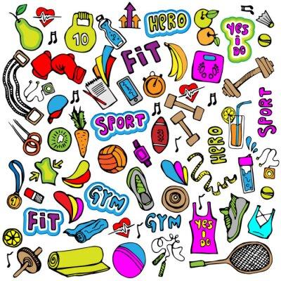Tapeta Sportowa ikona ręcznie rysować i elementy. Fitness i sportu kolorowe ikony kolekcji, doodle cartoon ikony sportowe.