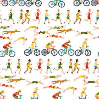 Tapeta Sportowego bieg mężczyzna ludzie jogging lato sport cieszy się biegacza ćwiczy ich zdrowego stylu życia wektorowego ilustracyjnego bezszwowego deseniowego tło