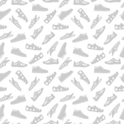Tapeta Sportowego obuwia bezszwowa deseniowa wektorowa ilustracja na bielu
