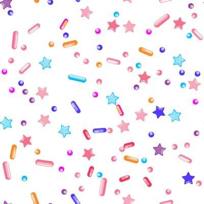 Tapeta Sprinkle Cupcake Donut Topping. Seamless Pattern