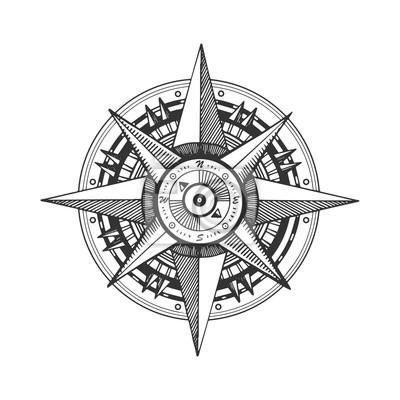 średniowieczna Róża Wiatrów Grawerowanie Ilustracji Wektorowych Tapety Redro