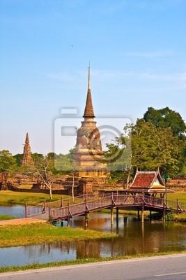 Tapeta Starożytny pagoda w Ayutthaya w jeziorze pionowej