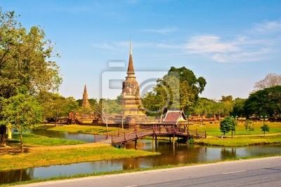 Tapeta Starożytny pagoda w Ayutthaya z jeziora