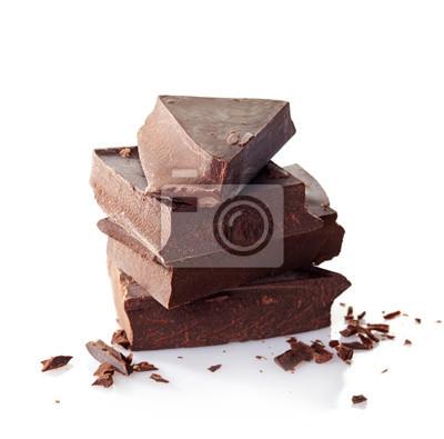 Tapeta Sterty połamanych czekoladowe sztuk na białym tle