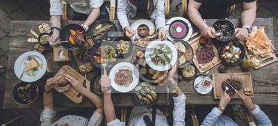 Tapeta stół z jedzeniem, widok z góry