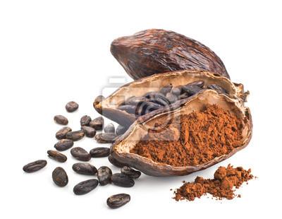 Tapeta Strąk, fasola kakao i proszek samodzielnie na biały