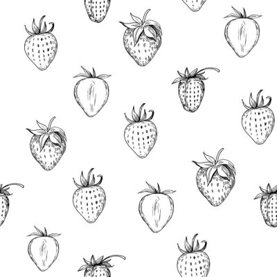 Tapeta Strawberry seamless pattern. Hand drawn illustration with transparent background. Vector