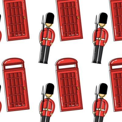 Tapeta strażnik i budka telefoniczna Londyn Wielka Brytania wzór obrazu wektorowego ilustracja projektu