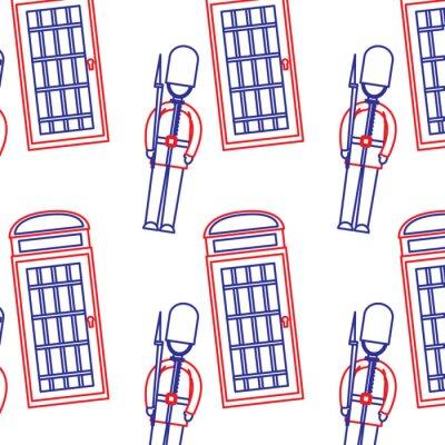 Tapeta strażnik i budka telefoniczna Londyn zjednoczone królestwo wzór obrazu wektorowego ilustracja niebieska linia