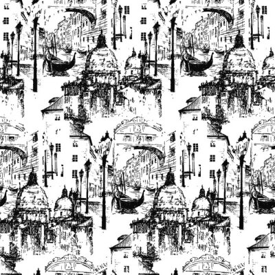 Tapeta Streets in Venice (Italy) with gondola. Vector artwork. Isolated on white background. Seamless pattern.