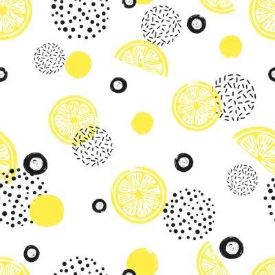 Tapeta Streszczenie bezszwowe cytryny wzór w kolorze żółtym i czarnym. Owoce cytrusowe i kropki na białym tle.