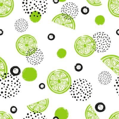 Tapeta Streszczenie bezszwowe wapno wzór w kolorze zielonym i czarnym. Owoce cytrusowe i kropki na białym tle.