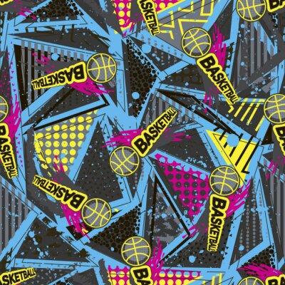 Tapeta Streszczenie bezszwowe wektor wzór dla dziewcząt, chłopców, ubrania. Kreatywne tło Koszykówka z kropkami, figury geometryczne Śmieszne tapety na tekstylia i tkaniny. Styl mody. Kolorowe jasne