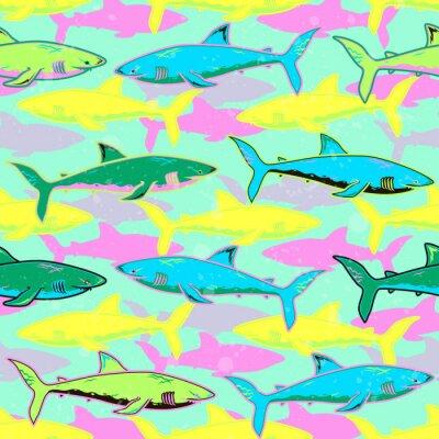 Tapeta Streszczenie bezszwowe wektor wzór dla dziewcząt, chłopców, ubrania. Twórczy tle z rekinami. Śmieszne tapety na tekstylia i tkaniny. Styl mody. Kolorowe jasne