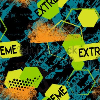 Tapeta streszczenie ekstremalne bezszwowe wzór grunge z wytartymi liniami, elementy geometryczne, tekst Silna moc, ekstremalne, gwiazdy, flaga w kratkę. Geometryczne powtarzające się tło dla chłopca, sportow