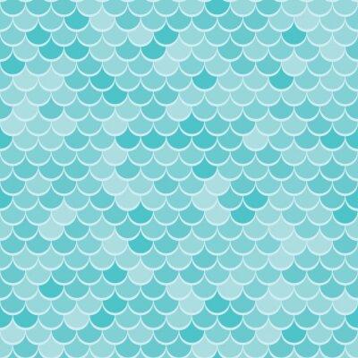 Tapeta Streszczenie geometryczne tło z motywem morskim. Jednolite niebieski wzór fal lub łuska tekstury.