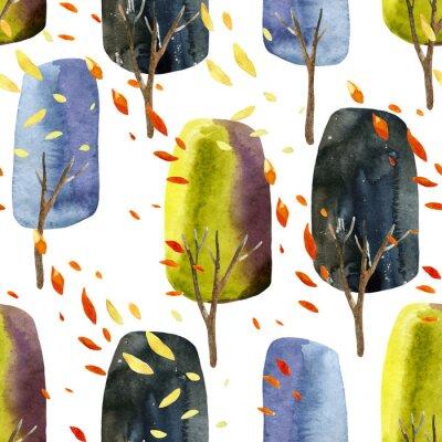 Tapeta Streszczenie jesieni? Drzew z opadaj? Cymi li? Ci, akwarela bezszwowych wzór.