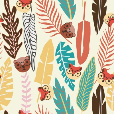 Tapeta Streszczenie kolor tropikalny liści płaskie tło zwierzę bez szwu