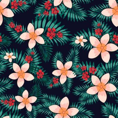 Tapeta Streszczenie kwiatowy wzór. Twórczy tło, Hawajska tropikalna kwiecista tapeta z gałąź paprociami, tropikalny ziele. Letni egzotyczny nadruk z liści palmowych dżungli. Modne kolory