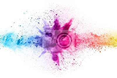 Tapeta streszczenie proszku splatted tło. Eksplozja kolorowy proszek na białym tle. Kolorowa chmura. Wybucha kolorowy pył. Maluj Holi.