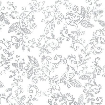 Tapeta Streszczenie ręcznie rysowane wzór srebrny