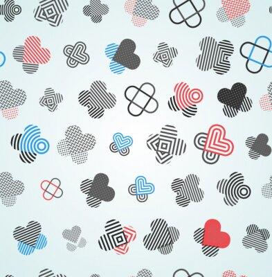 Tapeta Streszczenie serca i krzyże wzór. Niezwykły niekończący się ornament z chaotycznymi elementami do drukowania na dowolnych materiałach
