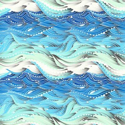 Tapeta Streszczenie szwu wody, rysowane ręcznie fale wektorowe, niebieskim tle fali, morze wzór, EPS 10