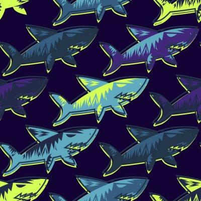 Tapeta Streszczenie wektor podwodny wzór dla dziewcząt, chłopców, ubrania. Twórczy tle z rekinami. Śmieszne tapety na tekstylia i tkaniny. Styl mody. Kolorowe jasne