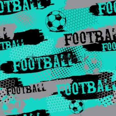 Tapeta Streszczenie wzór dla chłopców. Wzór piłki nożnej. Grunge miejski wzór z piłką nożną. Bawi się tapetę na białym tle z czernią i zielenią. Powtarzający się wzór sportowy.