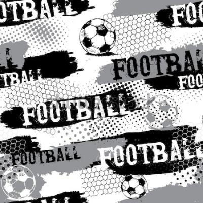 Tapeta Streszczenie wzór dla chłopców. Wzór piłki nożnej. Grunge miejski wzór z piłką nożną. Tapety sportowe w kolorach czarnym, szarym i białym. Ciemne tło grunge. powtarzający się wzór sportowy.