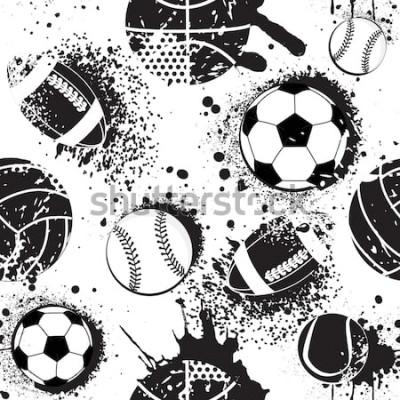 Tapeta Streszczenie wzór dla chłopców. Wzór piłki nożnej. Sportowy wzór miejski z piłką. Tapety sportowe czarno-białe kolory. Ciemne tło grunge. powtarzający się wzór sportowy.