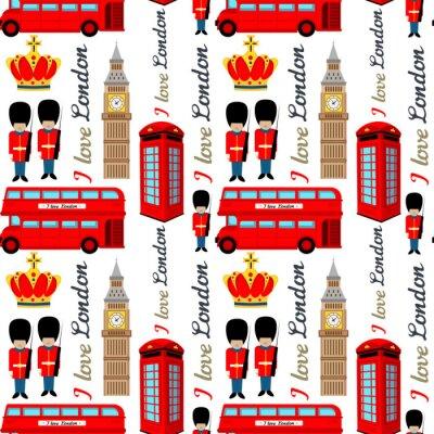 Tapeta Streszczenie wzór Londynu dla dziewcząt lub chłopców. Kreatywnie wektorowy tło z żołnierzem, wierza, England. Zabawny wzór na tekstylia i tkaniny. Moda w stylu anglii. Kolorowy jasny obraz