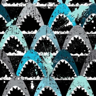 Tapeta Streszczenie wzór z rekinami. Nowoczesne tło dla chłopców i dziewcząt, dla wydruków, T-shirtów, tkanin, tkanin, sieci. Ciemna tapeta miejska.