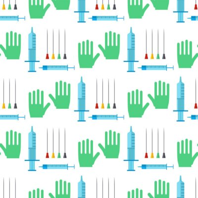Tapeta Strzykawki bezszwowego deseniowego tło kreskówki szpitalnego wtryskowego wtryskowego medycznego lekarstwa igielny szczepienia wektor